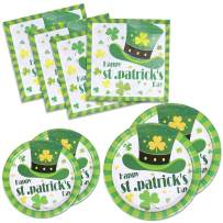 St Patrick's Day Paper Plates and Napkins Bulk for 50 Guests Disposable Dinnerware Dessert Plates Green Shamrock Irish Party Supplies 9 inch 7 inch Tableware Set, Serves 50