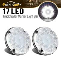 "Partsam 2Pcs 7"" Round White LED Backup Lights 17 LED Marker Running Lights Surface Mount for Transit Vehicles Bus Truck Trailers"