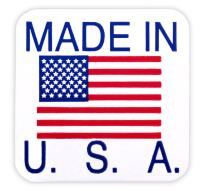 ChromaLabel 1 x 1 Inch Made in USA Stickers, 500 Labels/Dispenser Box, US Flag, Imprinted: Made in The USA