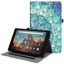 Fintie Case for All-New Amazon Fire HD 10 (Compatible with 7th and 9th Generations, 2017 and 2019 Releases) - [Multi-Angle Viewing] Folio Stand Cover with Pocket Auto Wake/Sleep, Emerald Illusions
