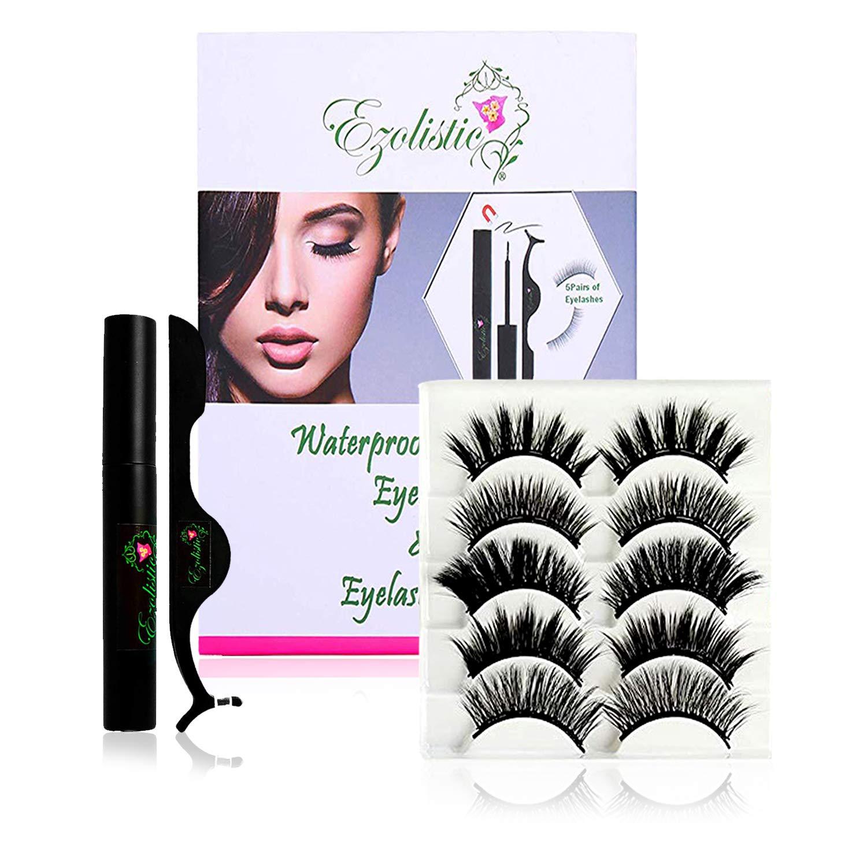 Fake Eyelashes Set (5 Pair) with Magnetic Eyeliner, Tweezer & Storage Box with Mirror - 5X Thick & Long - Natural Looking, Soft & Reusable - Waterproof & Sweatproof False Eye Lashes