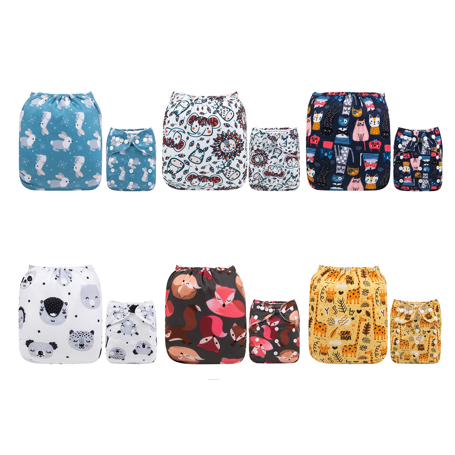 ALVABABY Baby Cloth Diapers One Size Adjustable Washable Reusable for Baby Girls and Boys 6 Pack with 12 Inserts 6DM19