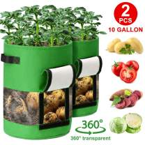 CAVEEN 2 Pack 10 Gallon Potato Grow Bags, Garden Vegetable Planter Pot with Flap and Handles, Planting Grow Bags for Potatoes, Tomato, Fruits, Plants Planting Bag Growing-Containers, Green