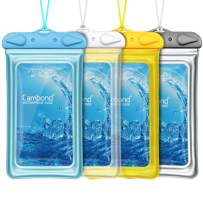 """Cambond Floatable Waterproof Phone Pouch, Floating Water Proof Cell Phone Case Both Sides Clear Dry Bag for iPhone 11/XS Max/XR/X/8/7 Plus Galaxy Up to 6.5"""", Snorkeling Cruise Ship Kayaking, 4 Pack"""
