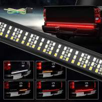 "Tailgate Light Bar 60"" Triple Row Tailgate Strip Lights with 4-Way Flat Connector Wire - Red Brake/Running, Sequential Amber Turn Signal/Strobe, White Reverse Lights for Pickup Trailer"