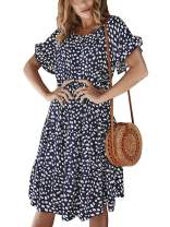 Sobrisah Women's Casual Round Neck Short Sleeve Polka Dot Print Loose A-Line Ruffle Swing Midi Dress