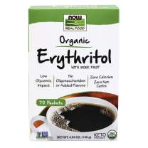 NOW Foods, Erythritol with Monk Fruit, Certified Organic, Non-GMO Project Verified, Zero-Calorie Sweetener, 70 Packets
