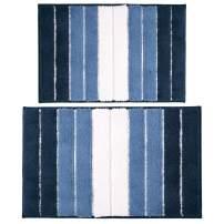 "Pauwer Bath Rug Set of 2 for Bathroom Non Slip Microfiber Bath Mat Water Absorbent Bathroom Rug Shower Rugs (18""x26""+20""x32"", Strip Blue)"