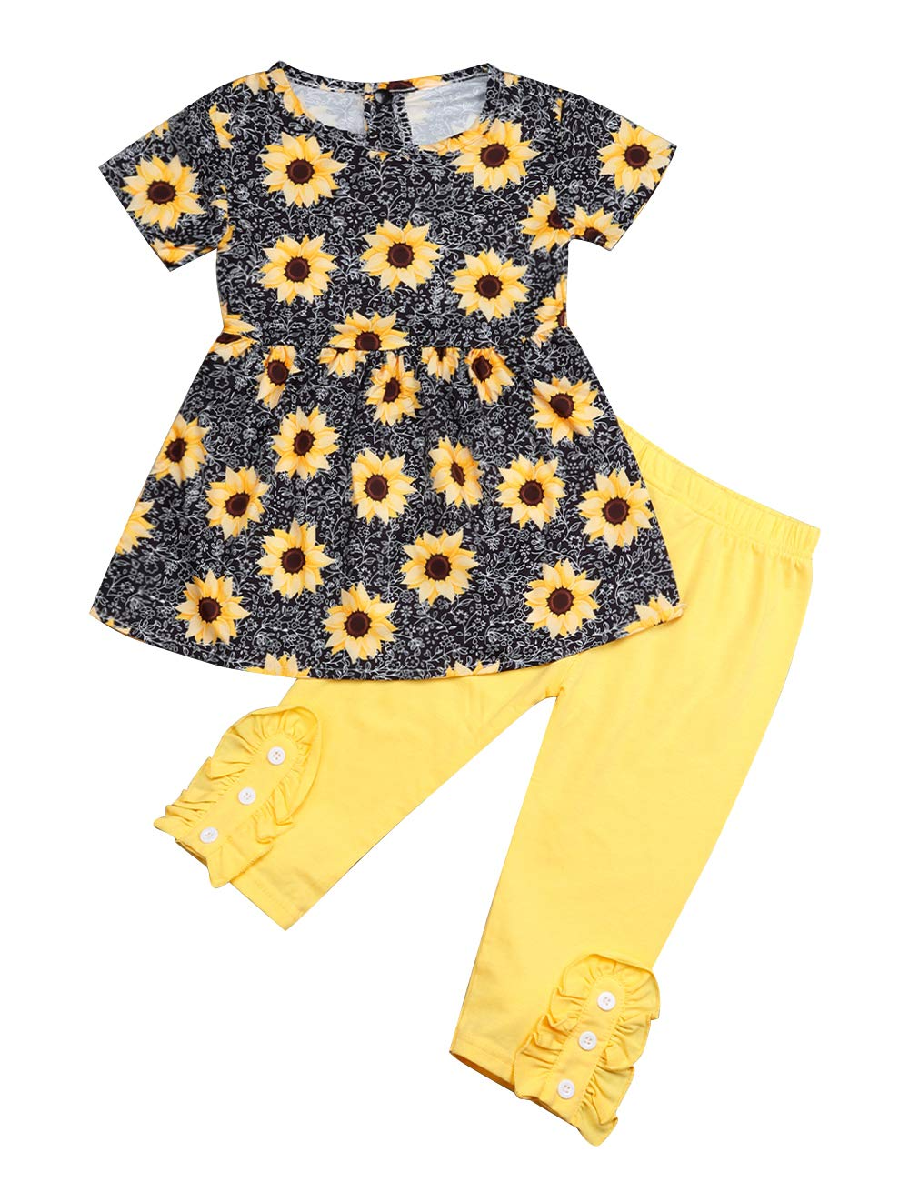 Toddler Girl Clothes Little Kid Sunflower Short Sleeve Top and Solid Color Pants with Headband Floral Outfit Set