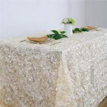 Fanqisi Ivory Rosette Tablecloth 90 x156 Inches Satin Raised Rosettes Rectangle Tablecloth for Engagement Ceremony Wedding Table Decoration