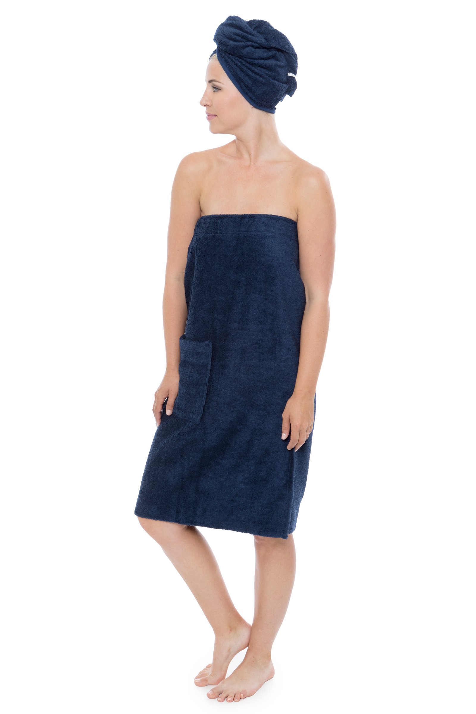 Women's Towel Wrap - Bamboo Viscose Spa Wrap Set by Texere (The Waterfall, Midnight Blue, Large/X-Large) Soft Cozy Spa Wrap with Hair Towel for Ladies WB0103-MID-LXL