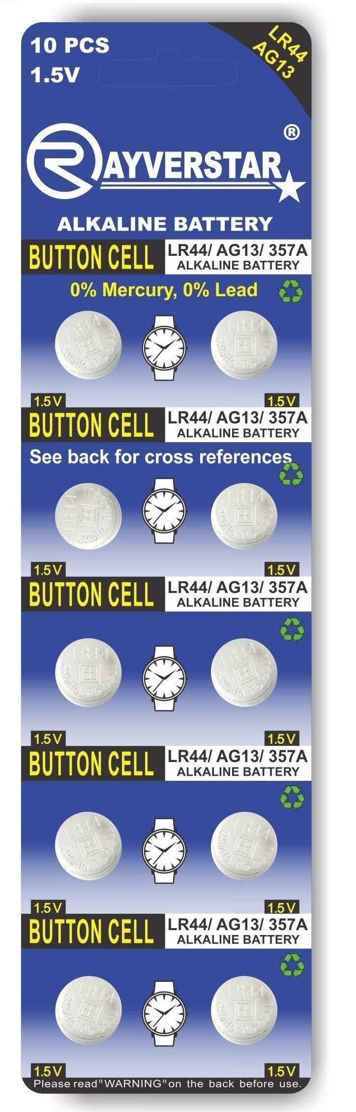 Rayverstar LR44 AG13 1.5 Volt Alkaline (10-Batteries) Fits: A76, GPA76, L1154F, L1154, 357A, 157, 303, 357, SR44, SR44SW, EPX76, PX76, PX76A, Hexbug, (Full List Below)
