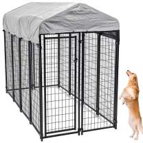 Large Dog Kennel Outdoor, Extra Large Dog Crate Metal Welded Pet Cage Heavy Duty Playpen with UV Protection Waterproof Dog Kennel Cover, Keeps Pet Cool Warm Dry Comfortable, Galvanized Metal Playpen