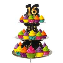 Happy 16th Birthday 3 Tier Cardboard Cupcake Stand / Tower Round Tiered Serving Platter Birthday Decorations Cheers To Sweet 16 Birthday Party