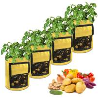 OWIKAR Potato Grow Bags, 7/10 Gallon Garden Vegetable Planter with Flap and Handles for Planting Potato Tomato Carrot Onion Taro Radish Peanut, Pack of 4 (7 Gallon, Yellow)