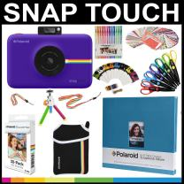 Polaroid Snap Touch Instant Camera Gift Bundle + Zink Paper (30 Sheets) + 8x8 Cloth Scrapbook + Pouch + 6 Edged Scissors + 100 Sticker Border Frames + Gel Pens + Hanging Frames + Accessories