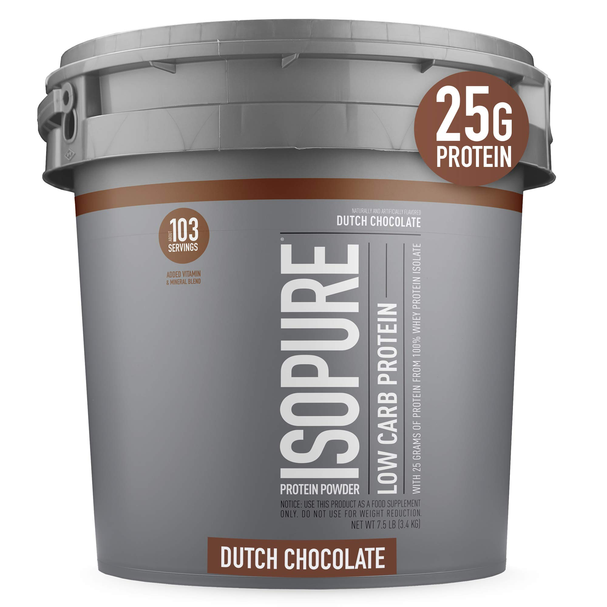 Isopure Low Carb, Vitamin C and Zinc for Immune Support, 25g Protein, Keto Friendly Protein Powder, 100% Whey Protein Isolate, Flavor: Dutch Chocolate, 7.5 Pounds (Packaging May Vary)