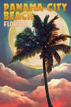 Panama City Beach, Florida - Palm and Moon (16x24 Giclee Gallery Print, Wall Decor Travel Poster)