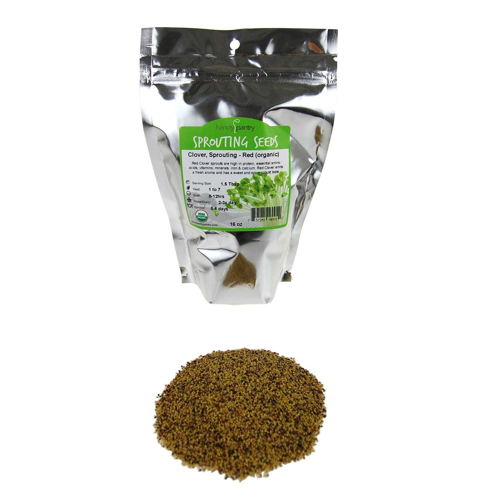 Organic Red Clover Sprouting Seeds by Handy Pantry Brand - 1 Lb Resealable Bag - Sprouts, Microgreens, Gardening, Food Storage, Hydroponics - Edible Seed