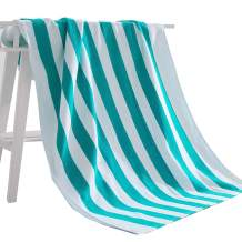 """Exclusivo Mezcla 100% Cotton Cabana Striped Beach Towel Caribbean Blue and White (30"""" x 60"""")—Soft, Quick Dry, Lightweight, Absorbent, and Plush"""