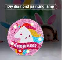 YOBEYI Diamond Painting Unicorn with LED Lights DIY Special Shaped Full Drill Crystal Diamond Drawing Bedside Lamp for Home Decoration (Unicorn E)