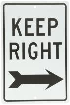 NMC TM27H KEEP RIGHT Sign – 12 in. x 18 in. All Purpose Aluminum Traffic Safety Sign with Black Arrow Graphic, Text on White Base