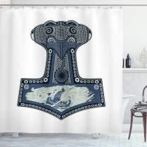"Lunarable Viking Shower Curtain, Scandinavian Folklore Motifs Northern Germanic Culture Mjollnir, Cloth Fabric Bathroom Decor Set with Hooks, 75"" Long, Slate Blue"