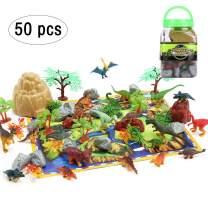 50PCS Dinosaur Toys Party Supplies Jurassic Plastic Dinosaurs World Dinasors Toys for Boys Girls 3 Year Olds Up Kids Birthday Dinosaur Party Favors -20 Dinos, 30 Plants & Rocks, 1 Map, 1 Bucket