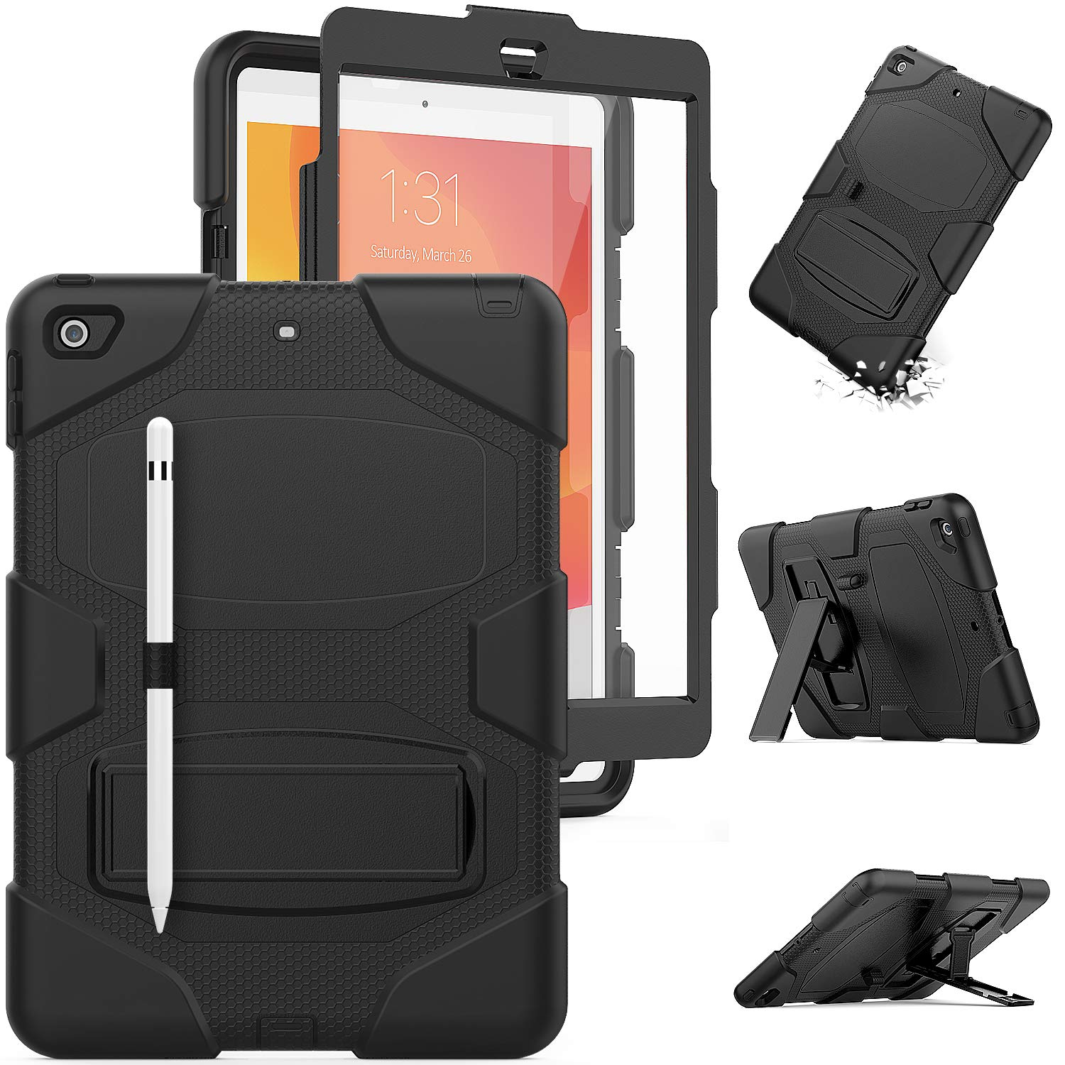 HXCASEAC iPad 7th Generation Case, [Full Body] Drop Protective Case [Built-in Kickstand] & [Built-in Screen Protector] & [Stylus Pencil Holder] for 2019 iPad 7 Model A2197 A2198 A2200 (Black)