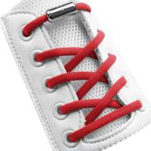 """Elastic No Tie Shoelaces Half Round 1/4"""", Stretch Tieless Shoe Laces Strings For Adults Kids Sneakers [1 Pair]"""