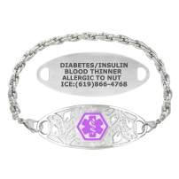 Divoti Custom Engraved Medical Alert Bracelets for Women, Stainless Steel Medical Bracelet, Medical ID Bracelet w/Free Engraving – Lovely Filigree Tag w/Rope – Color/Size