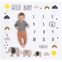 Organic Baby Monthly Milestone Blanket Elephant - Baby Boy and Girl Elephants Months Blanket with Month Frame - Hello Baby Milestone Blanket for Newborn to 12 Months Milestones, Elephant Nursery Décor