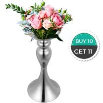 "Happybuy Flower Rack for Wedding 10pcs Metal Candle Stand 12.6"" Height Silver Centerpieces for Tables Wedding Vases Centerpieces Tabletop Candlestick for Party Events Dinner Metal Flower Arrangement"