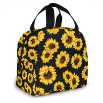 AHOOCUSTOM Lunch Bags Sunflower Insulated Lunch Box Resuable Cooler Tote Bag Waterproof Lunch Holder for Men & Women Work Picnic Or Travel