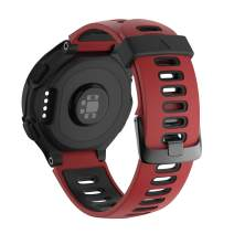 NotoCity Compatible with Forerunner 220 Watch Bands Black Buckle Sport Silicone Watch Strap Replacement for Forerunner 230/220/235/620/630/735XT Smartwatch (Red-Black)