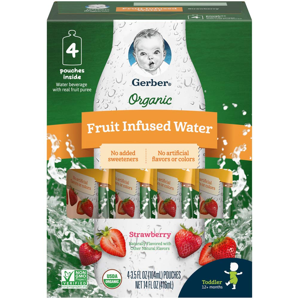 Gerber Purees Organic Fruit Infused Water Pouches, Strawberry, 3.5 Ounces, 16 Count (Pack of 1)