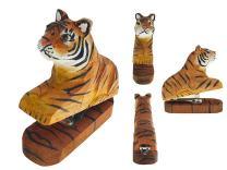 Vivid Handmade Wood Carving Cartoon Mini Animal Stapler for School Office Stationery Children Christmas Gift (Tiger)