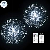 2 Pack 198 LED Fireworks Lights, Hanging Starburst Lights, Battery Operated Fairy String Lights with Remote Control for Christmas, Wedding, Party, Indoor, Outdoor (198 LED, Cool White)