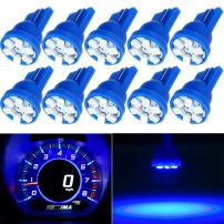 CCIYU 10X Super Blue Wedge Side T10 6SMD LED Speedometer Instrument Light 192 194 168