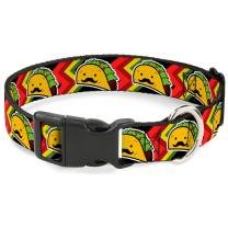 Buckle-Down Dog Collar Plastic Clip Taco Man Available in Adjustable Sizes for Small Medium Large Dogs