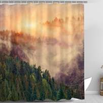 Zussun Forest Fog Shower Curtain Set Bathroom Fabric Fall Curtains Waterproof Home Decor Bathroom Accessory Sets with 70inx69in Standard Size (Forest-a)