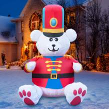 Holidayana 7 ft Christmas Inflatable White Nut Cracker Fuzzy Bear Yard Decoration - 7 ft Tall Lawn Decoration, Bright Internal Lights, Built-in Fan, and Included Stakes and Rope