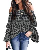 Farktop Womens Off The Shoulder Tops Leopard Bell Sleeve Blouses Flared Casual Loose Shirts