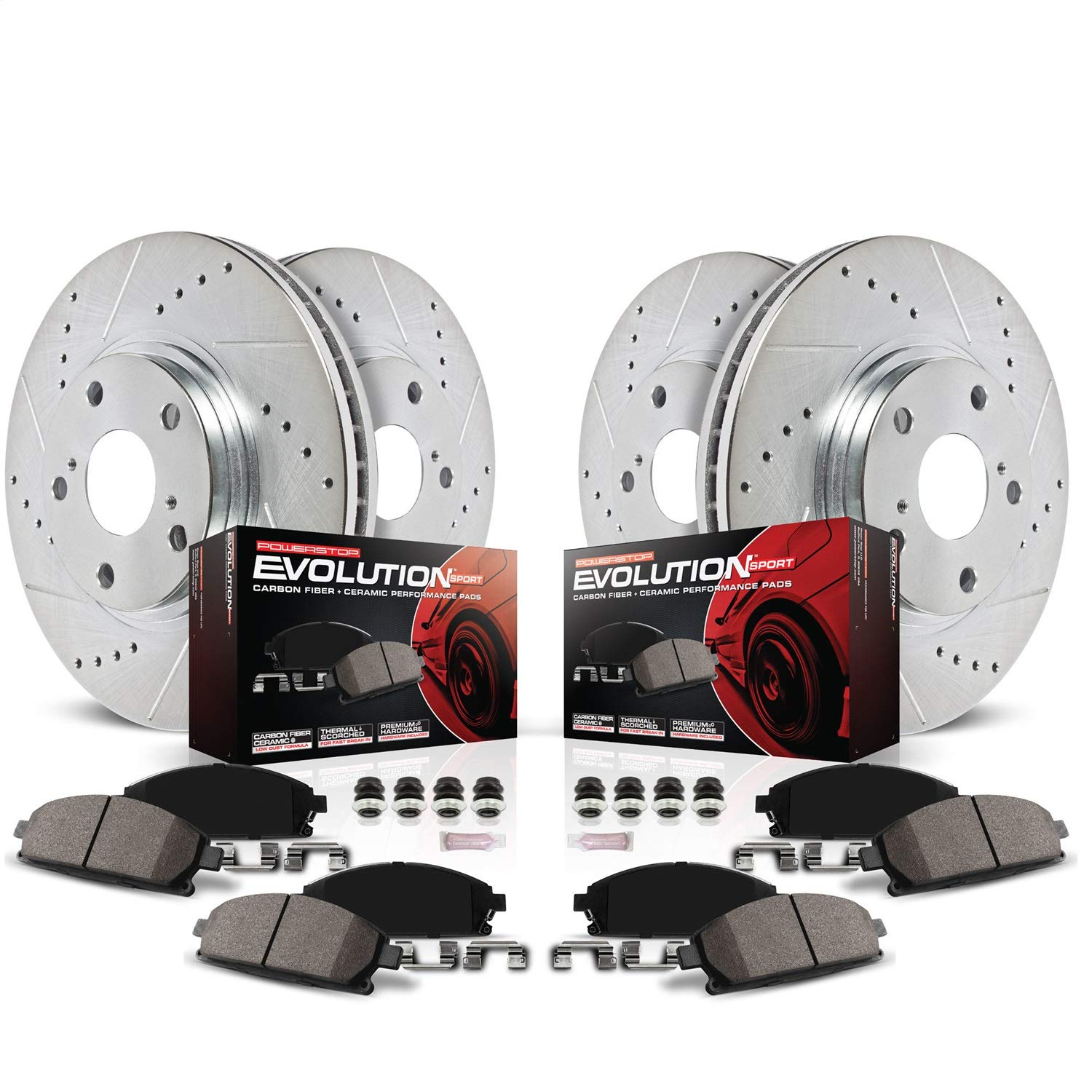 Power Stop KOE7931 Autospecialty Front /& Rear Kit Rotors and Ceramic Brake Pads