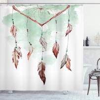 """Ambesonne Feather Shower Curtain, Watercolor Vibrant Dream Catcher with Ornamental Elements Traditional Design, Cloth Fabric Bathroom Decor Set with Hooks, 75"""" Long, Green Brown"""