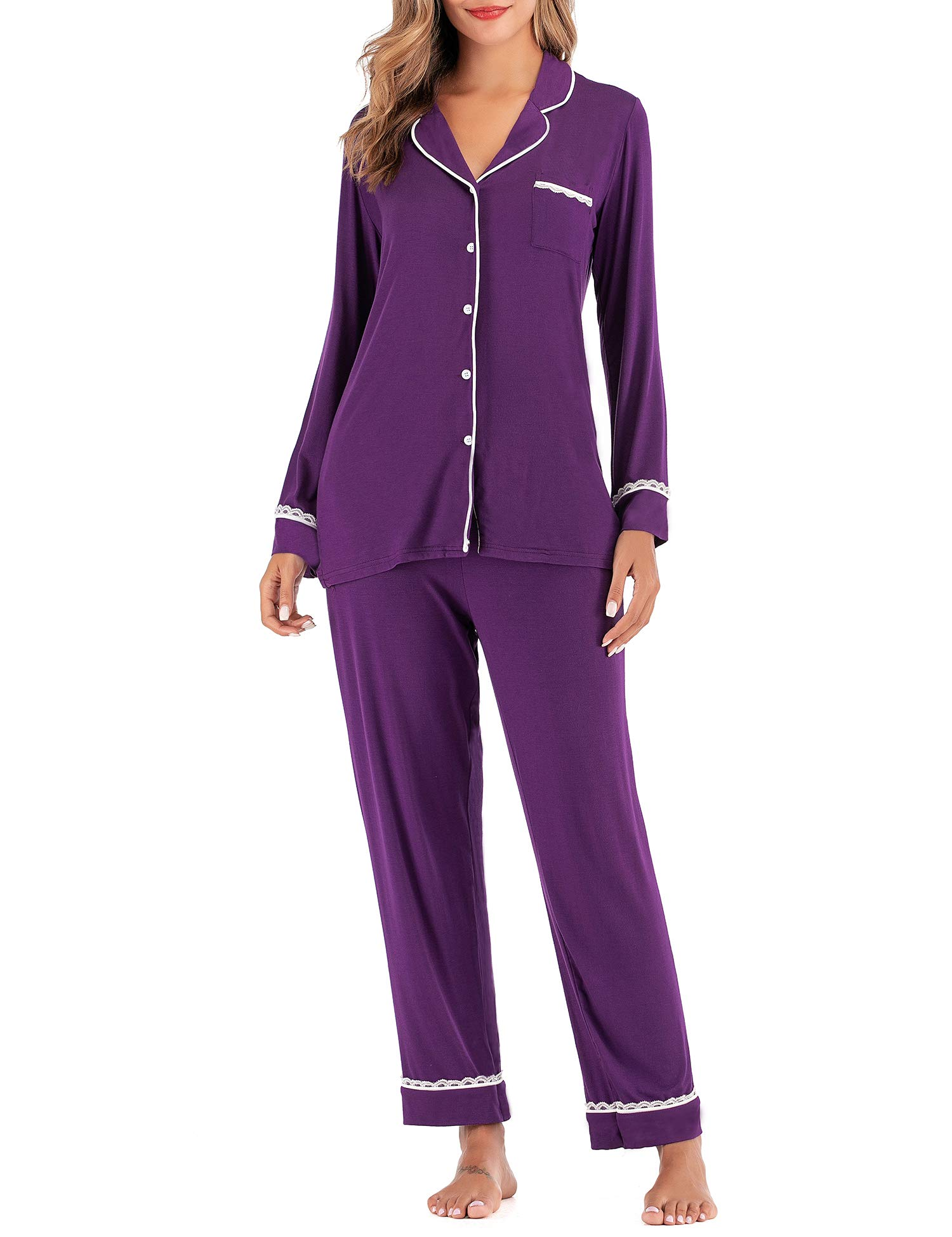 DLOREUK Women's Pajamas Set, Long Sleeve Cotton Sleepwear Button Down Nightwear Soft Pj Lounge Sets S-XXL