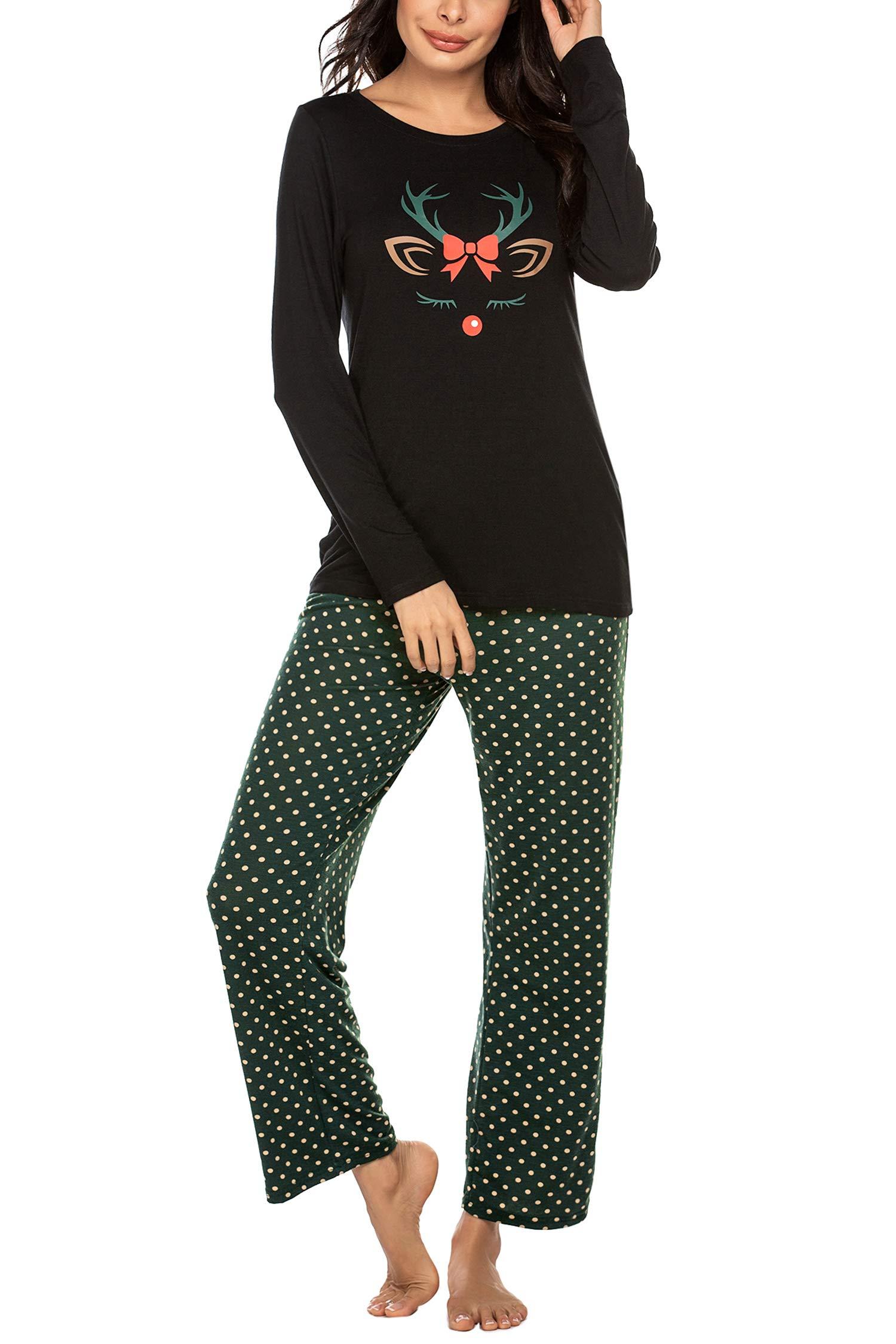 Ekouaer Women's Pajama Set Long Sleeve Sleepwear Polka Dots Printed Pjs Set Cute Pajamas for Women S-XXL