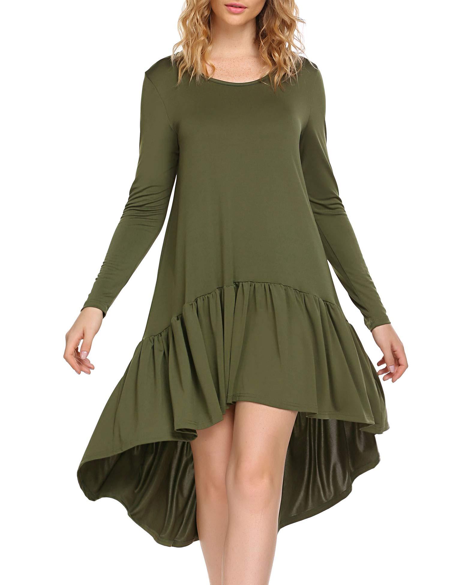 Zeagoo Women Ruffle High Low Asymmetrical Hem Party Evening Midi Dress Army Green