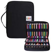 BOMKEE Pencil Case 220 Slots Colored Pencils Gel Pen Organizer Bag with Zipper for Student Kids Adults Artist Handy Glitter Gel Pens, Refills, Waterproof Coloring Holder Pencils Case(Black)