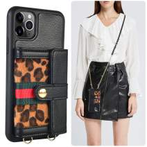 iPhone 11 Pro Max Wallet Case, JLFCH iPhone 11 Pro Max Crossbody Case with Zipper Card Slot Holder Wrist Strap Lanyard Women Girl Leopard Print Purse for iPhone 11 Pro Max 6.5 inch- Black